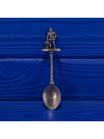 Коллекционная посеребренная ложечка с фигуркой сэра Френсиса Дрейка