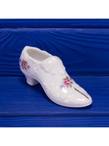 Коллекционная фарфоровая туфелька с цветами из Англии