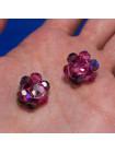 Сверкающие оттенками розового винтажные клипсы, украшенные бусинами Aurora Borealis, северное сияние