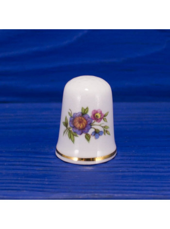 Винтажный коллекционный наперсток из костяного фарфора с нежными цветами
