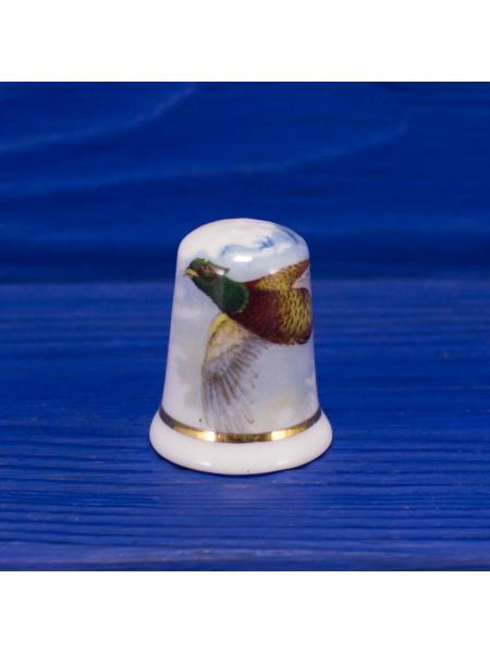 Коллекционный наперсток из костяного фарфора с изображением фазана от Fenton