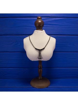 Роскошное винтажное колье, усыпанное искристыми кристаллами, имитирующими черные бриллианты 1960-х годов
