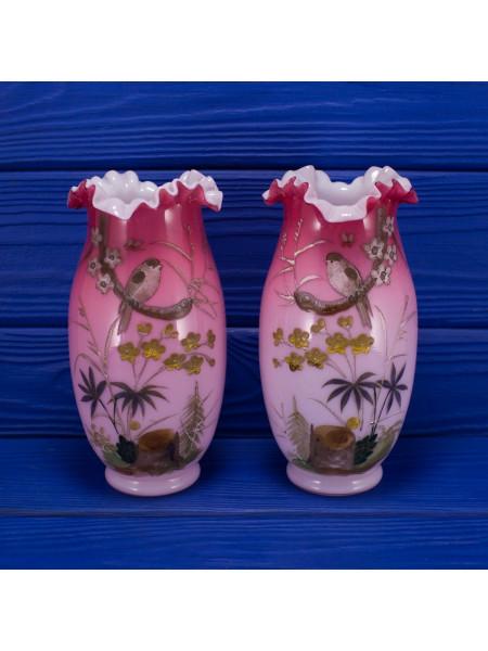 Пара редких антикварных ваз Thomas Webb & Sons