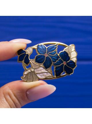 Винтажная позолоченная брошь от Fish с синими цветами