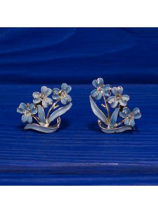 Винтажные клипсы с нежными голубыми цветочками, украшенными эмалью
