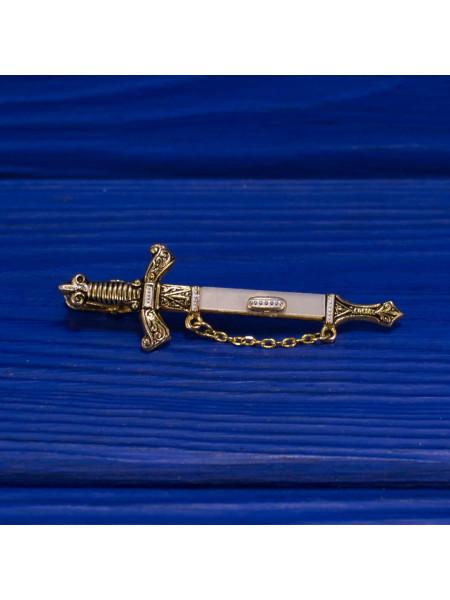 Коллекционный зажим для галстука в форме меча в стиле Толедо, украшенный с перламутром
