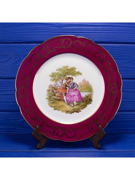 Тарелка Limoges с бордовым ободком, украшенным позолоченным орнаментом