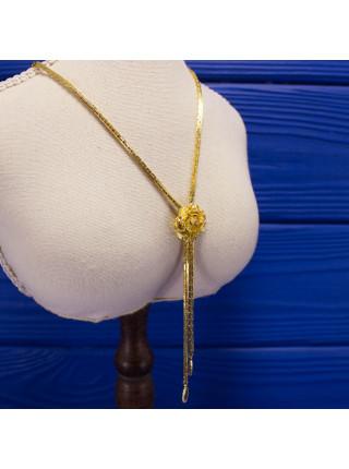 Великолепное винтажное колье благородного золотого оттенка с цепочкой оригинального плетения