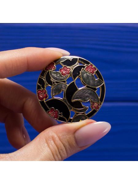 Винтажная брошь в технике перегородчатая эмаль с бабочками и цветами