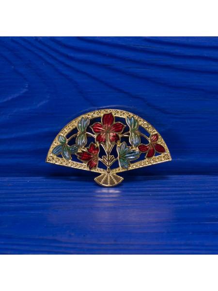 Винтажная позолоченная брошь в форме веера с цветами в технике перегородчатая эмаль