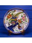 Роскошная коллекционная тарелка с красочным изображением золотого фазана в цветах, декорированная золотом