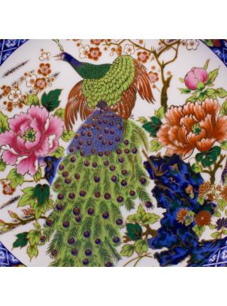Роскошная коллекционная тарелка с красочным изображением павлина в цветах, декорированная золотом