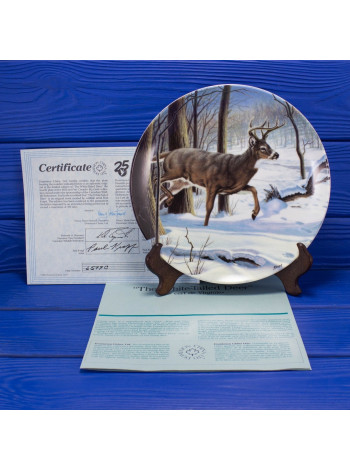 "Тарелка №6599 C с сертификатом и брошюрой ""The White-Tailed Deer"" (Белохвостый олень) коллекции Wild and Free Canadas Big Game от Dominion China LTD"