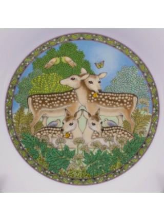 Комплект фарфоровых тарелок от Franklin Porcelain с днями недели, иллюстрирующая детскую считалку