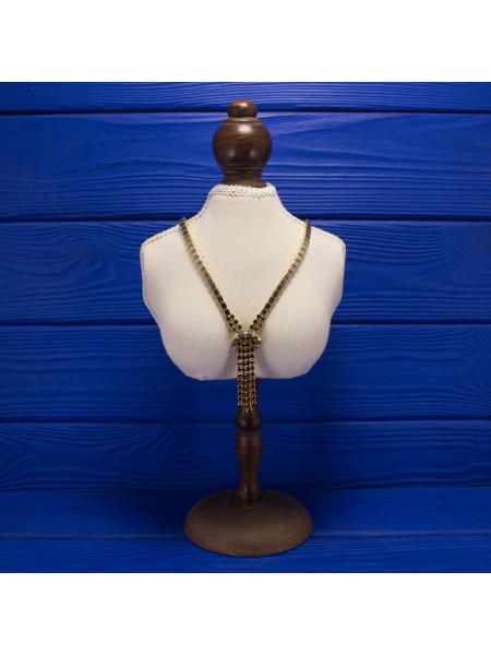 Чарующее винтажное колье в стиле ар-деко, усыпанное искристыми кристаллами цвета коньячного бриллианта