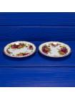 Пара винтажных фарфоровых блюдец дизайна Old Country Roses от Royal Albert