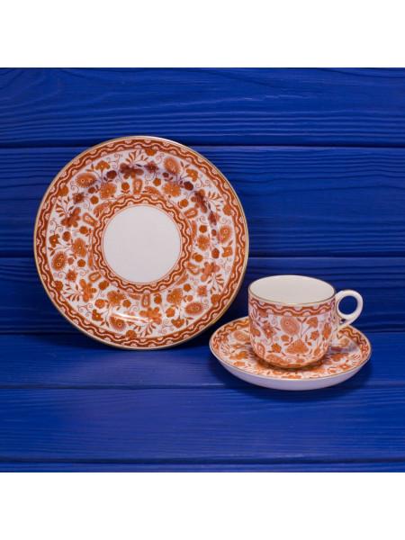 Антикварное чайное трио 1883 года выпуска дизайна Wilmot от Royal Crown Derby