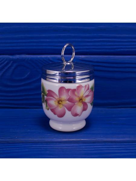 Винтажный кодлер дизайна Pershore с изображением розовой розы, плодов шиповник и крыжовника на одно яйцо от Royal Worcester
