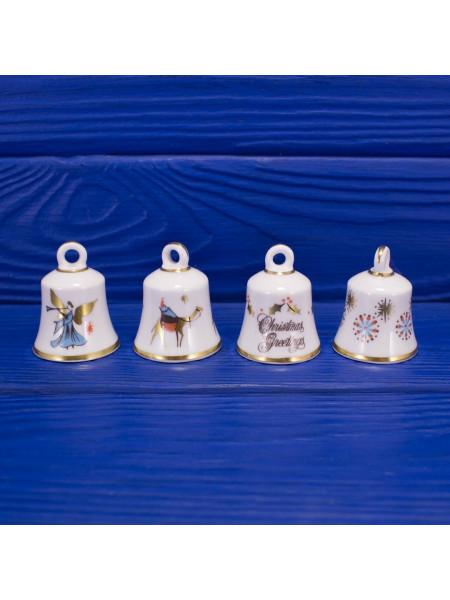 Квартет из четырех рождественских винтажных колокольчиков от Hammersley. 1975 год
