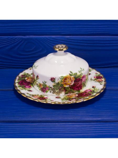 Винтажная фарфоровая масленка дизайна Old Country Roses от Royal Albert. 1962-1973 гг