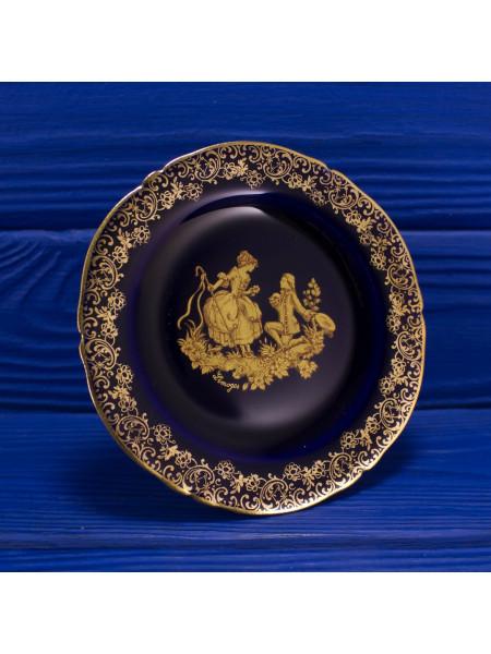 Тарелка Limoges с подставкой: кобальт с позолотой