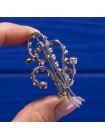 Винтажная объемная брошь, украшенная кристаллами двух оттенков, имитирующими аметисты и бриллианты